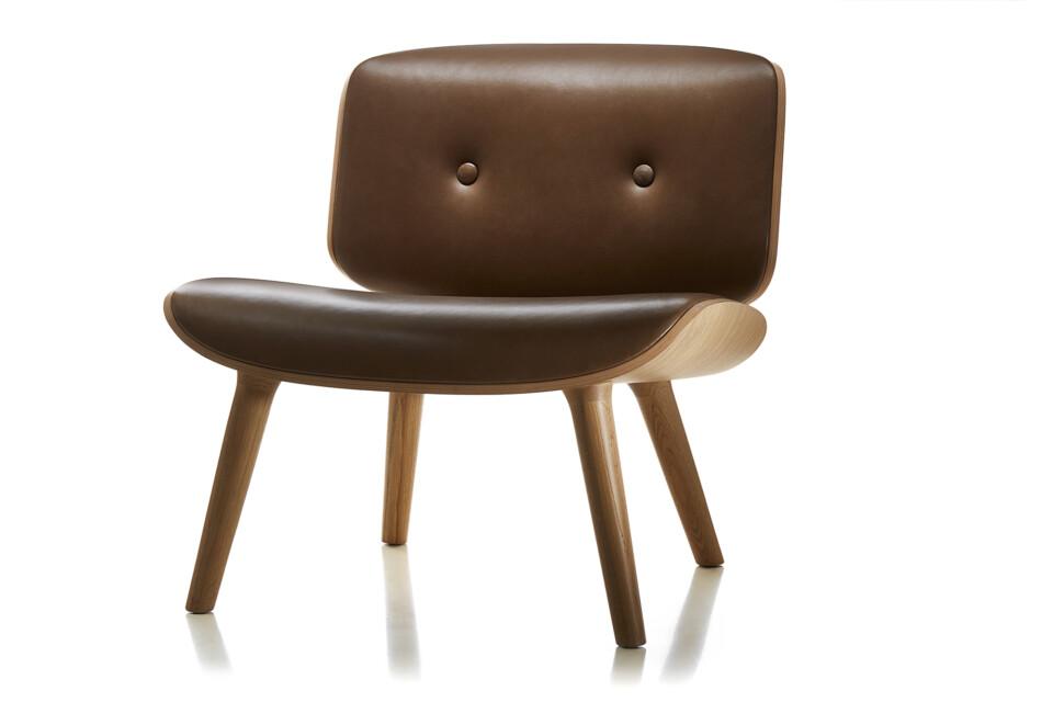 Moooi Nut Lounge Chair lepotuoli nahkaverhoilulla