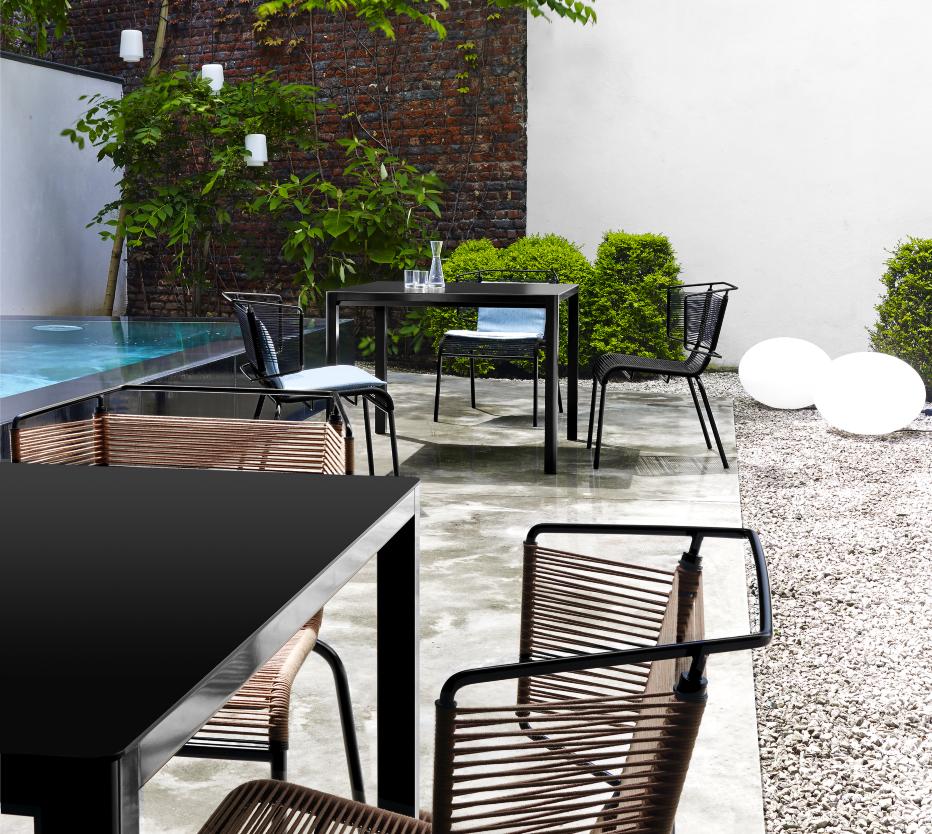 Ligne Roset Fifty-tuolit, Globe indoor/outdoor -valaisin, Ariane Out -riippuvalaisimet