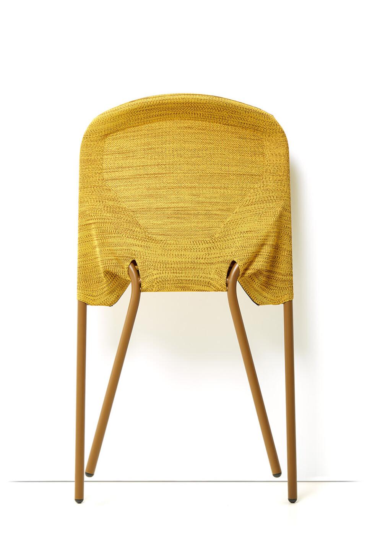 Moooi Shift Chair ruokatuoli keltainen kokoontaitettuna